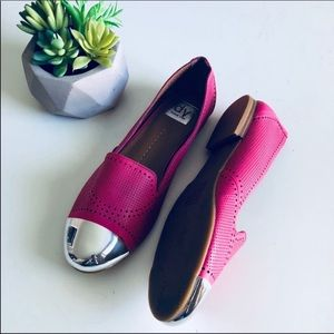 DV by Dolce Vita Cap Toe Flats in Pink & Silver
